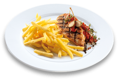 "11er ""Unsere Besten"" Chips with grilled chicken breast, tomato and caper sauce"
