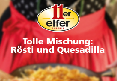 11er Rösti-Kartoffeln in Erdnuss-Chili-Huhn Quesadilla