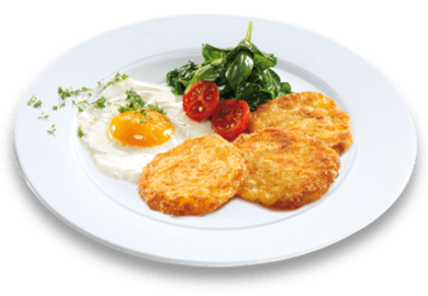 11er Crispy Rosti, homemade style with spinach and fried egg
