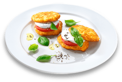11er Crispy Rosti homemade style with tomatoes and mozzarella