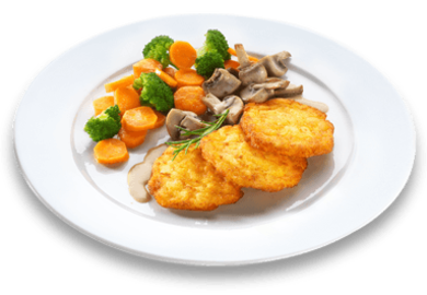 11er Crispy Rosti homemade style with creamy mushroom sauce served with broccoli and carrots